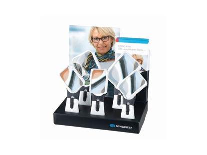 Image de Présentoir en carton de 5 loupes Schweizer ERGO-Lux MP MOBIL 2700K spécial droitiers et gauchers
